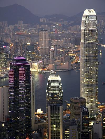 Hong Kong skyline and Victoria Harbor at night-Tibor Bogn?r-Photographic Print