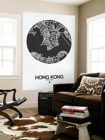 Hong Kong Street Map Black on White-NaxArt-Wall Mural