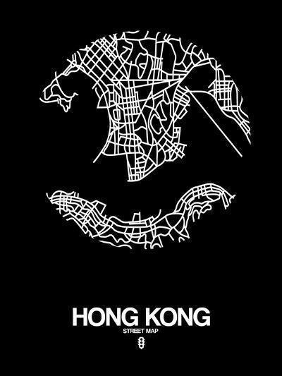 Hong Kong Street Map Black-NaxArt-Art Print