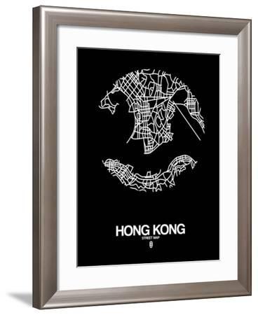 Hong Kong Street Map Black-NaxArt-Framed Art Print