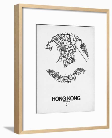 Hong Kong Street Map White-NaxArt-Framed Art Print