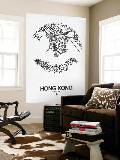 Hong Kong Street Map White-NaxArt-Wall Mural