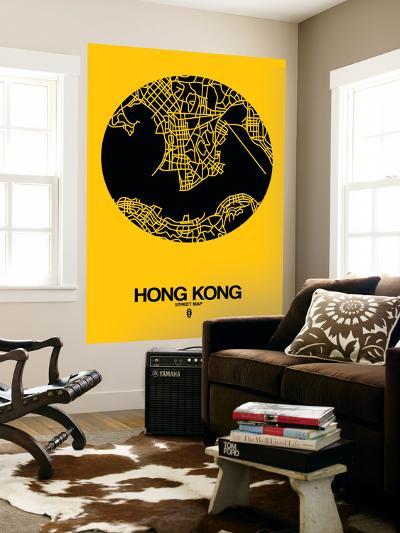 Hong Kong Street Map Yellow-NaxArt-Wall Mural
