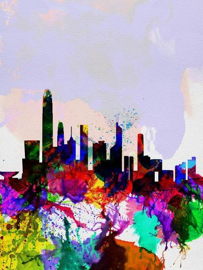 Hong Kong Watercolor Skyline-NaxArt-Art Print