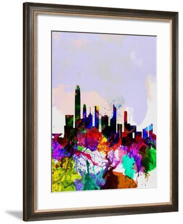 Hong Kong Watercolor Skyline-NaxArt-Framed Art Print