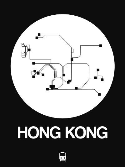Hong Kong White Subway Map-NaxArt-Art Print