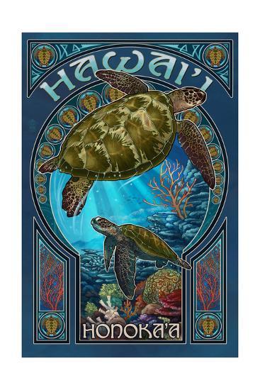 Honoka'a, Hawaii - Sea Turtle Art Nouveau-Lantern Press-Art Print