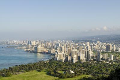 Honolulu from Atop Diamond Head State Monument, Honolulu, Oahu, Hawaii-Michael DeFreitas-Photographic Print