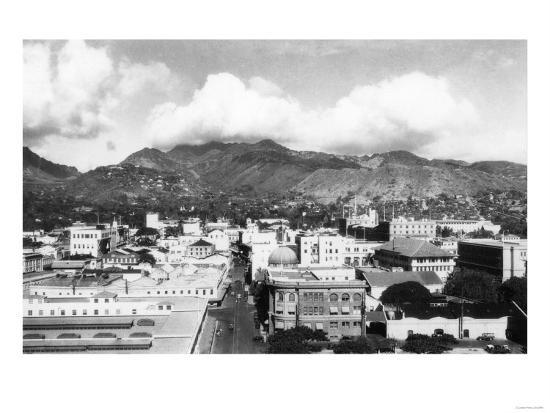 Honolulu, Hawaii City View from Aloha Tower Photograph - Honolulu, HI-Lantern Press-Art Print