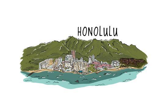 Honolulu, Hawaii - Cityscape - Line Drawing-Lantern Press-Art Print