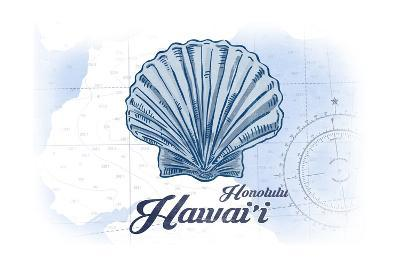 Honolulu, Hawaii - Scallop Shell - Blue - Coastal Icon-Lantern Press-Art Print