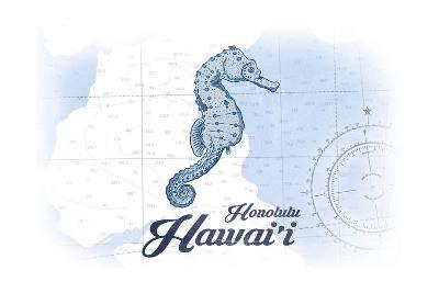 Honolulu, Hawaii - Seahorse - Blue - Coastal Icon-Lantern Press-Art Print