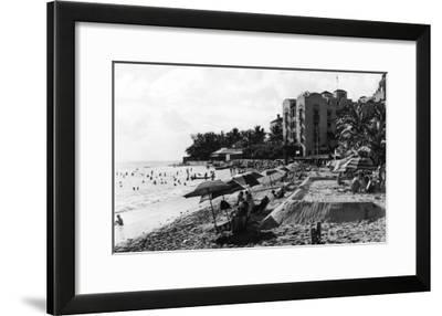 Honolulu, Hawaii View of Waikiki Beach and Swimmers Photograph - Honolulu, HI-Lantern Press-Framed Art Print