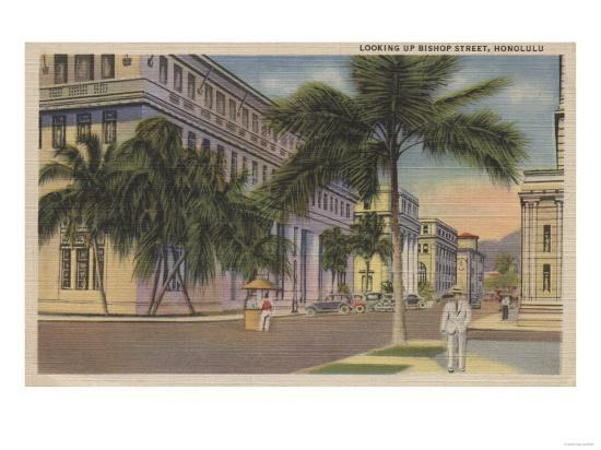 Honolulu, HI - View of Bishop St.-Lantern Press-Art Print