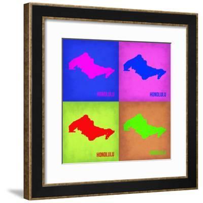 Honolulu Pop Art Map 1-NaxArt-Framed Premium Giclee Print