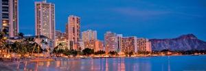 Honolulu - Waikiki Beach - Resorts and Diamond Head Crater on Ohau Island - Hawaii