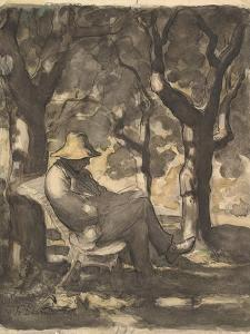 A Man Reading in a Garden, 1825-79 by Honore Daumier