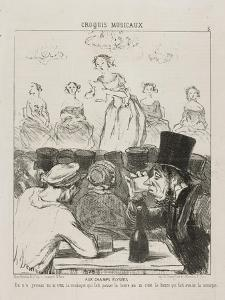 At the Champs-Elysées, plate 3 from Croquis Musicaux, 1852 by Honore Daumier