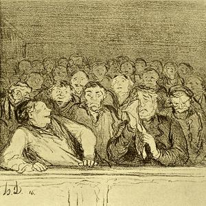 Audience in the Gallery by Honore Daumier