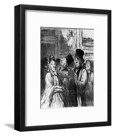 Caricature of Visitors to an Art Exhibition before a Painting by Gustave Moreau