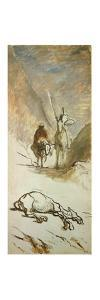 Don Quijote and the dead mule. by HONORE DAUMIER