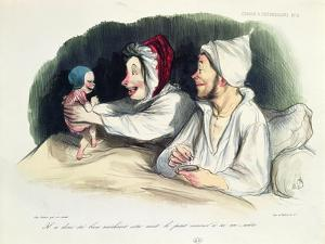 Ecstatic Parents with their New Baby by Honore Daumier