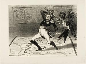 Emperor Nicolas Working in His Cabinet, Plate 94 from Actualités, 1850 by Honore Daumier