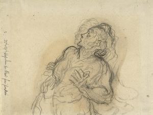 Frightened Woman by Honore Daumier