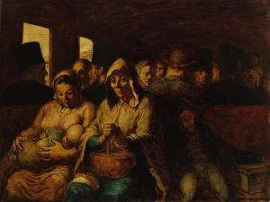 Interior of third-class carriage, 1862-64 by Honore Daumier