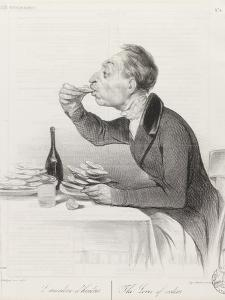 Man Eating Oysters and Wine by Honore Daumier