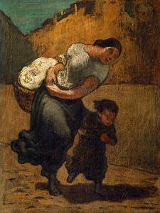 The Burden. Oil on Canvas. by HONORE DAUMIER