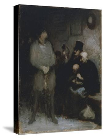 The Waiting Room, 1850, by Honore Daumier (1808-1879), Oil on Paper, 30X24 Cm. France, 19th Century