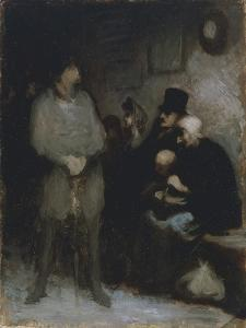 The Waiting Room, 1850, by Honore Daumier (1808-1879), Oil on Paper, 30X24 Cm. France, 19th Century by Honore Daumier