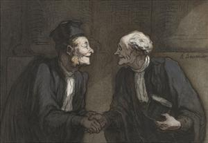 Two Lawyers Shake Hands, C. 1840-60 by Honore Daumier