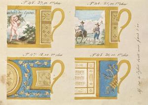 Quatre tasses avec fond d'or, ca. 1800-1820 by Honore