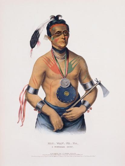Hoo-Wan-Ne-Ka, Illustration from 'The Indian Tribes of North America'-Charles Bird King-Giclee Print