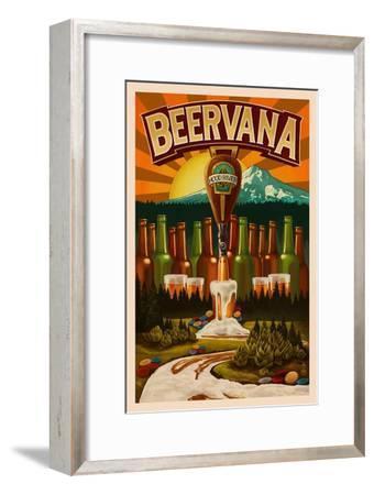 Hood River, Oregon - Beervana-Lantern Press-Framed Art Print