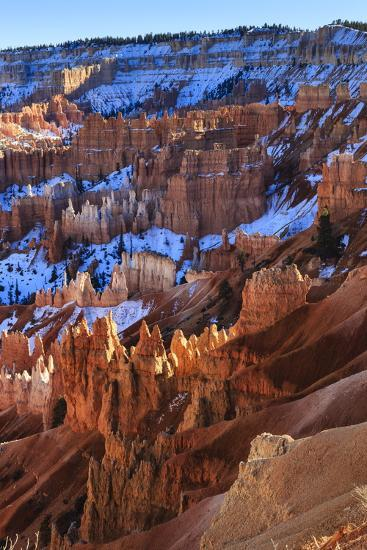 Hoodoos and Snowy Rim Cliffs Lit by Strong Late Afternoon Sun in Winter-Eleanor-Photographic Print