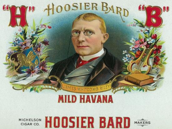 Hoosier Bard Brand Cigar Box Label, James Whitcomb Riley, American Author and Poet-Lantern Press-Art Print