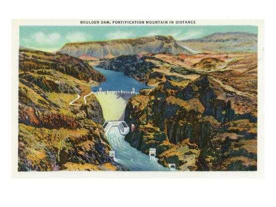 Hoover Dam, Nevada, Aerial View of the Dam, Fortification Mountain in the Distance-Lantern Press-Art Print