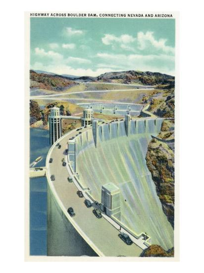 Hoover Dam, Nevada, Aerial View of the Highway Connecting Arizona and Nevada-Lantern Press-Art Print