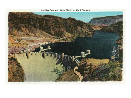 Hoover Dam, Nevada, View of the Dam, Lake Mead in Black Canyon-Lantern Press-Art Print