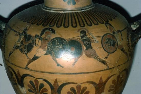 Hoplites Fighting, detail of a Greek pot, (Hydria), c530-510 BC-Unknown-Giclee Print