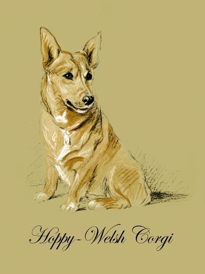 Hoppy The Welsh Corgi-Lucy Dawson-Art Print