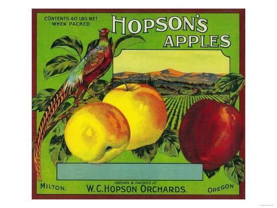 Hopson's Apple Crate Label - Milton, WA-Lantern Press-Art Print