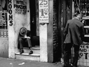 Vagrant Sitting in Doorway by Horace Bristol