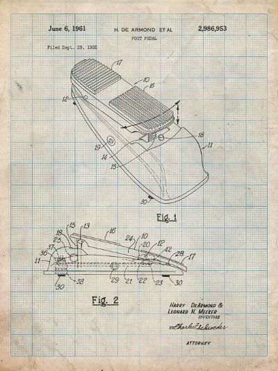 Horace N Rowe Wah Pedal Patent-Cole Borders-Art Print