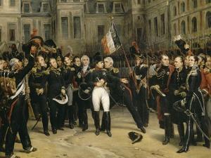 Adieux de Napoléon Ier à la garde impériale dans la cour du cheval blanc du château de by Horace Vernet