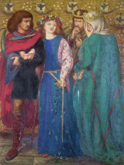 Horatio Discovering the Madness of Ophelia-Dante Gabriel Rossetti-Giclee Print