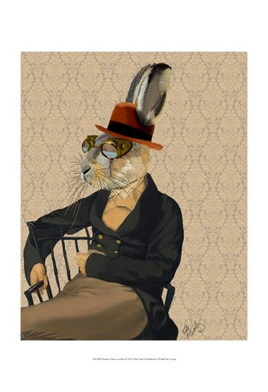 Horatio Hare on Chair-Fab Funky-Art Print